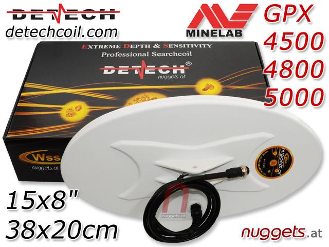 DETECH Minelab GPX 15x8 8x15 Coil Suchspule 38x20 cm www.nuggets.at www.detechcoil.com