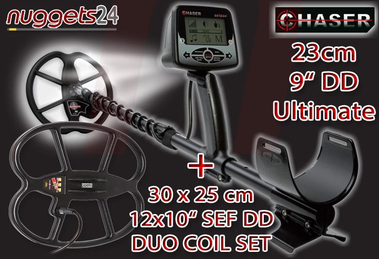 Chaser Metal Detector Metalldetektor nuggets24com DuoCoil 2 Suchspulen Carbon Gestänge LED Fundstellenbeleuchtung +++