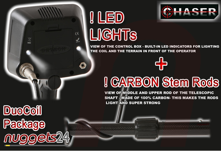 Detech Chaser nuggets24com Dual Coil Deep Max Metal Detector LED SEF + Ultimate Carbon Package