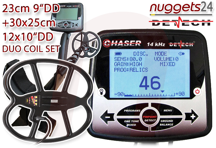 Detech CHASER 14 kHz DUO COIL 2 Spulen Set Package nuggets24.com
