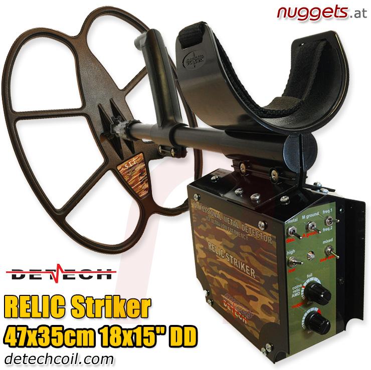 Detech Relic Striker nuggets24com Deep Search Metal Detector big 18x15 DD coil