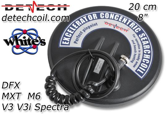 Detech Zubehörspulen für Whites MXT DFX PRO 300 M6 Spectra V3 v3i bei www.nuggets.at www.detechcoil.com