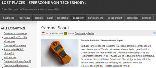 GammaScout TEST Tschernobyl www.gammascout.at Gamma-Scout Gamma Scout Geigerzähler Geiger Dosimeter Radimeter