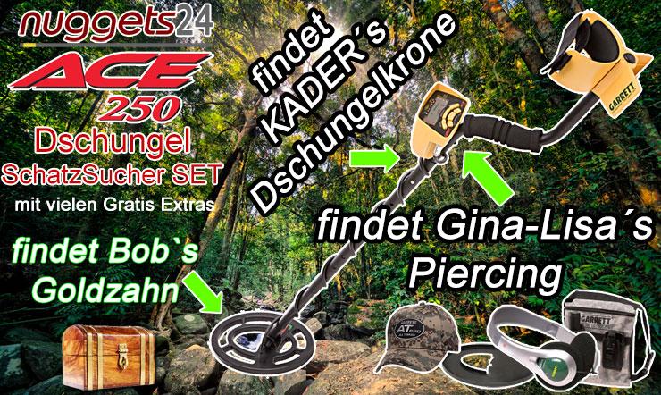 Dschungelcamp Dschungel Camper nuggets24 Schatzsuche Metalldetektor Schatzsucher