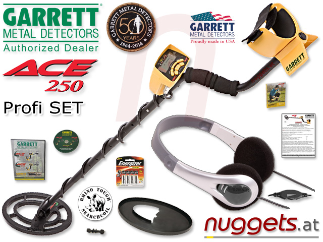 Garrett ACE250 Metalldetektor kauft man bei nuggets.at im Set Sonderangebot