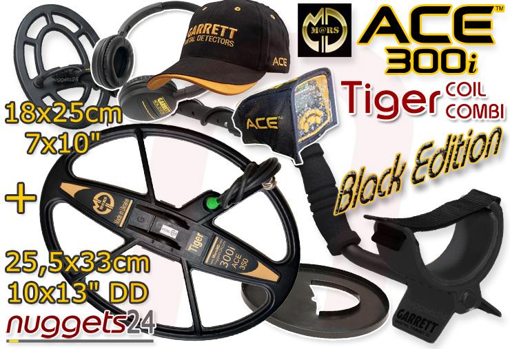 Garrett ACE300i Black Edition Mars TIGER coil combi 2-Spulen Set ACE 300 i nuggets24 Metalldetektoren Online Shop