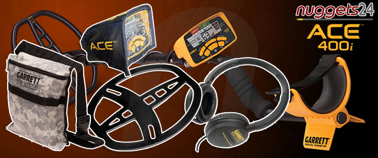 Garrett ACE400i Premium Set www.nuggets24.de Metalldetektor Metal Detector Online Shop