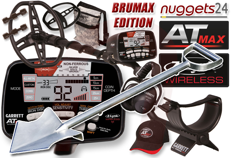 Garrett AT MAX ATMAX AT-MAX inklusive Brutus Maxiumus Spaten Spade nuggets24 Special Offer