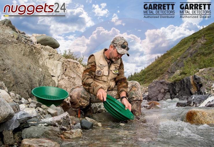 Die besten + patentierten Goldwaschpfannen kommen von GARRETT Das Original bei nuggets24com