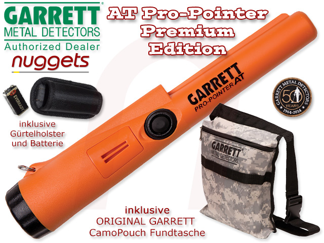 Garrett AT PRO POINTER Pro-Pointer Pin Pointer Probe inclusive Camouflage Garrett CAP + Fundtasche nuggets.at
