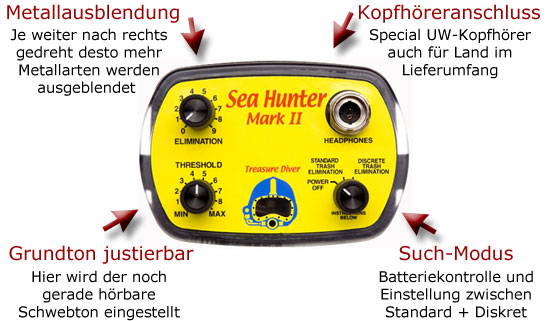 GARRETT SeaHunter MKII bei www.nuggets.at SPECIAL DIVER DETECTOR OFFER