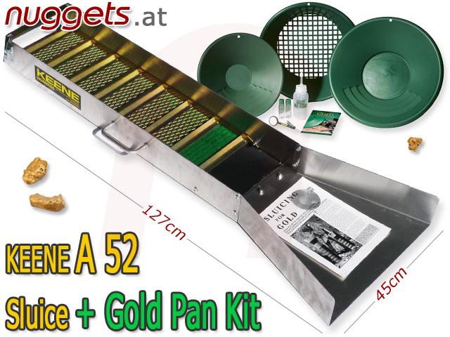 Keene A52 A 52 Sluice + Pan Goldwaschrinne Goldwaschschleuse Goldwaschpfannen Schleuse Rinne von nuggets.at