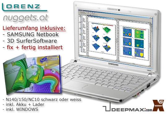 Lorenz X6 Samsung Netbook Set bei www.nuggets.at Schatzsuche Metall Detektor Online Shop