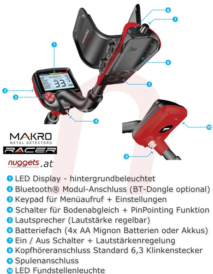 Makro RACER Details Metalldetektor Metal Detector www.nuggets.at www.makrodetector.de