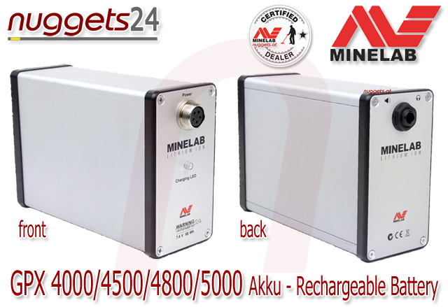 Minelab GPX GPX5000 GPX4500 GPX4800 GPX4000 battery rechargeable recharge accu Akku nuggets24.com