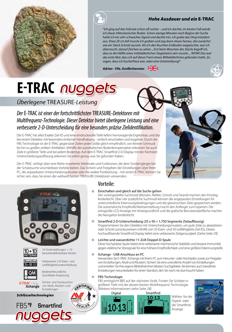 Minelab Metalldetektor Online Shop www.nuggets.at E-TRAC
