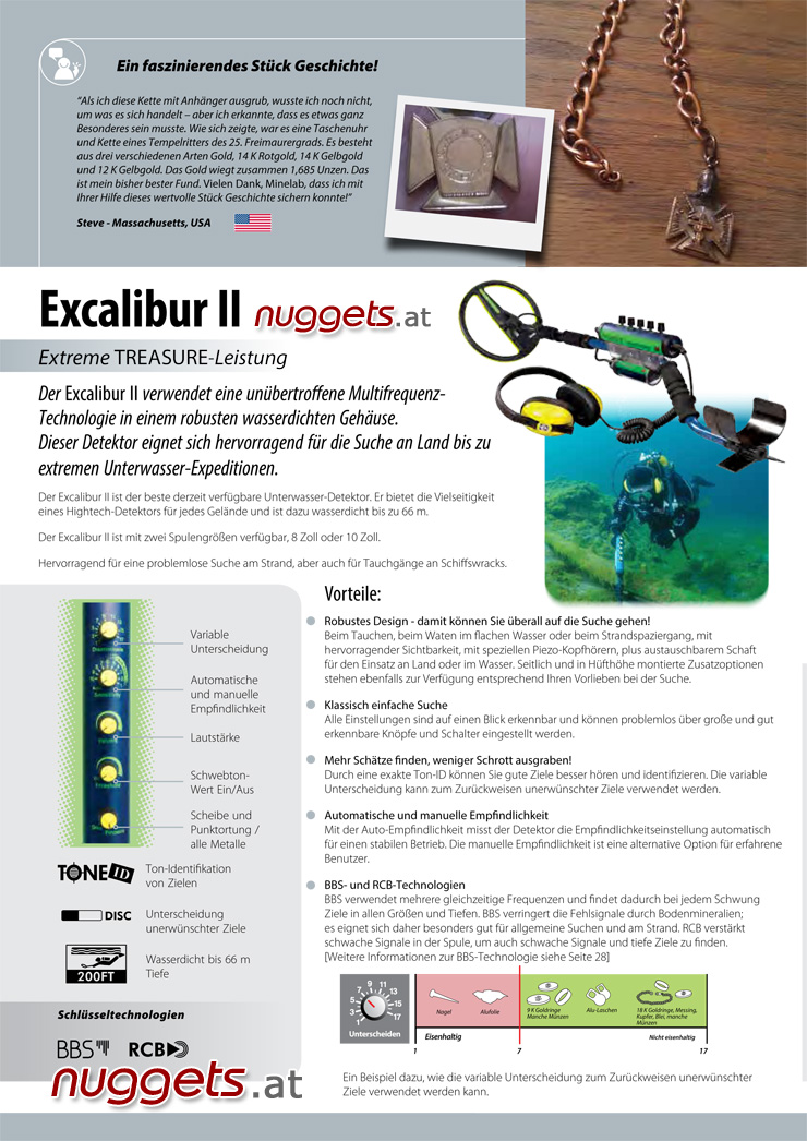 Excalibur II Minelab Underwater Metal Detector www.nuggets.at