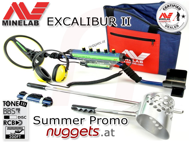 Minelab Excalibur Summer PROMO Special Edition Strand Unterwasser Gold Detektor Metal Detector Beach and Underwater www.nuggets.at