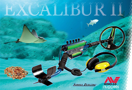 MINELAB EXCALIBUR II Metalldetektor Untewasser Land Dive Metal Detector www.nuggets.at OnlineShop