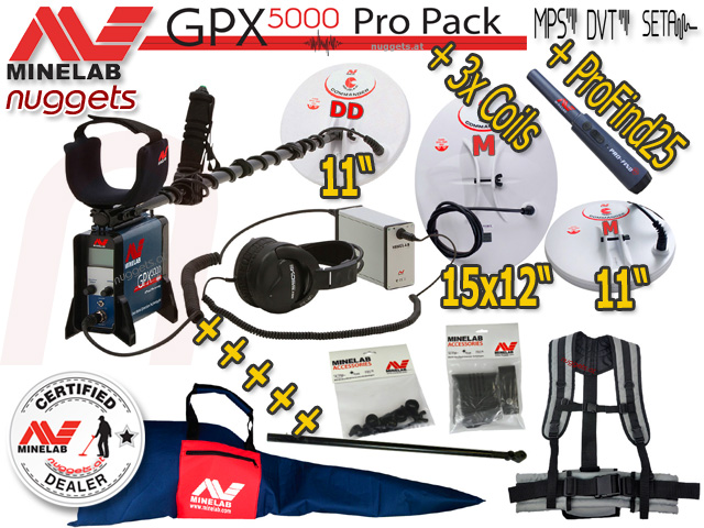 Minelab GPX 5000 PRO PACK  Gold Detector Metalldetektore Golddetector www.nuggets.at