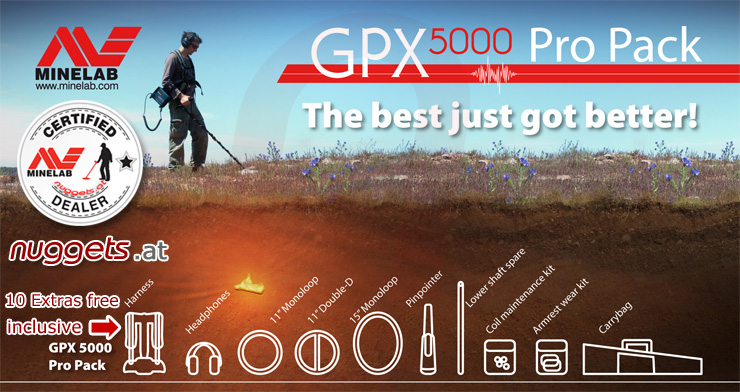Minelab GPX5000 GPX 5000 Gold Pro Pack inclusive 3 coil + ProFind + Extras Metal Detector Shop nuggets.at