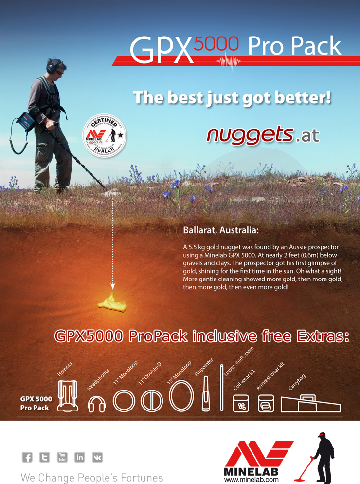 Minelab GPX 5000 ProPack Pro Pack nuggets.at Special offer Metal Detector Shop