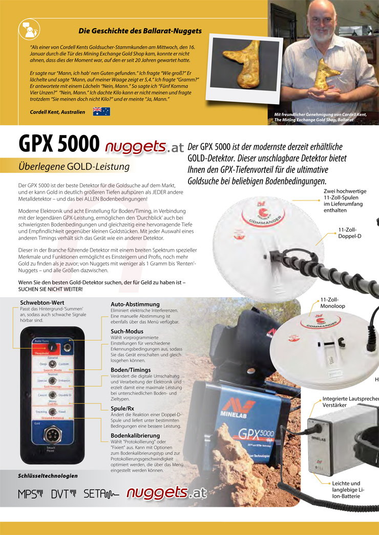 Minelab GPX GPX5000 4800 5000 www.nuggets.at Gold Detector Metalldetektor