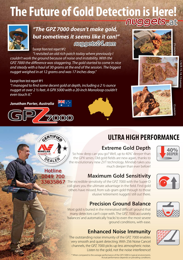 nuggets gold detector Minelab GPZ7000 better than GPZ5000 Hotline 0049 700 33835867