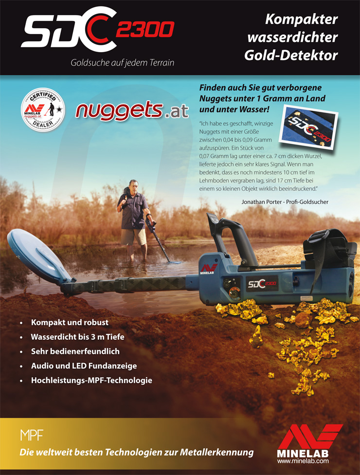 Minelab kauft man bei nuggets.at mit Beratung Service Schnellversand alles auf Lager EU Hotline 0049 700 DETEKTOR