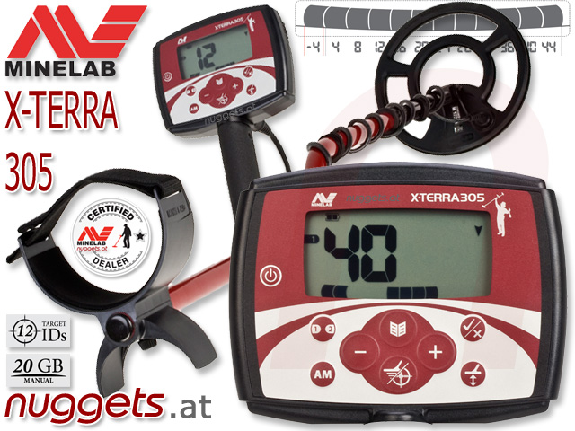 Minelab X-Terra 305 XTerra www.nuggets.at Metalldetektor Online Shop
