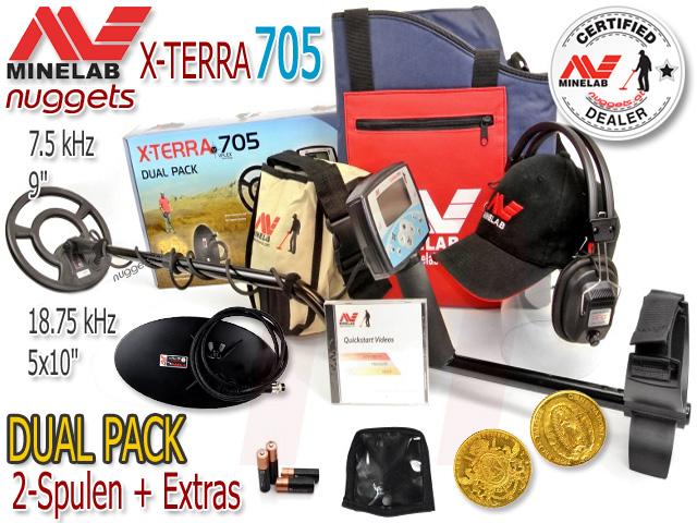 Minelab X-Terra 705 XTerra DUAL PACK Metalldetektor nuggets.at 2 Spulen Set