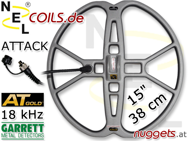NEL Attack Suchspule Coil Garrett AT GOLD 18 kHz 38cm 15