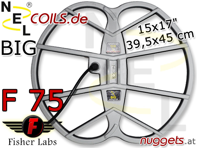 NEL BIG Suchspule Coil Garrett Fisher F75 F 75 15x17 39,5x45 cm www.nuggets.at www.nelcoils.de