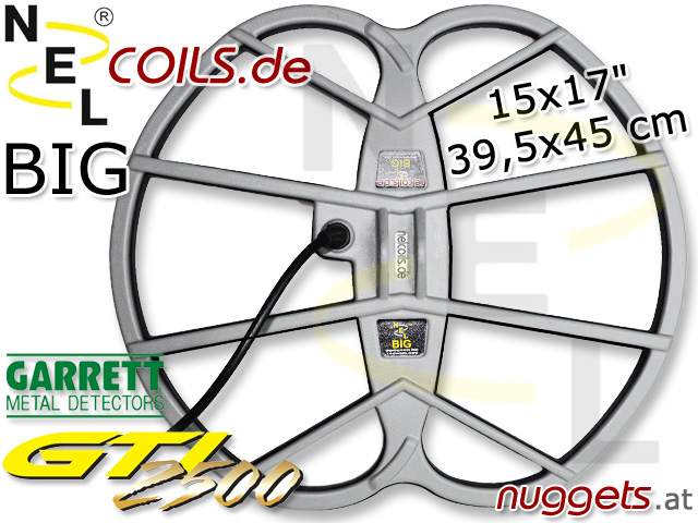 NEL BIG Suchspule Coil Garrett GTI 2500 1500 GTI2500 15x17 39,5x45 cm www.nuggets.at www.nelcoils.de