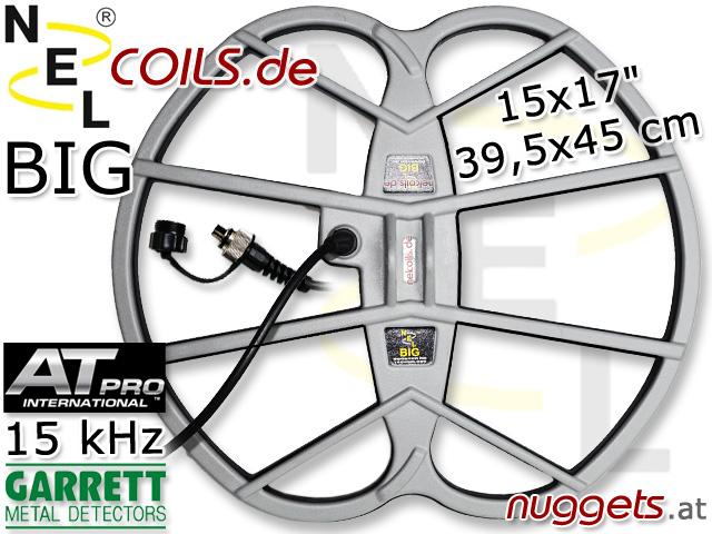 NEL BIG Suchspule Coil Garrett AT PRO 15 kHz 15x17 39,5x45 cm www.nuggets.at www.nelcoils.de