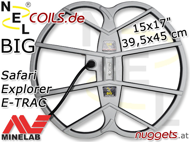 NEL BIG 38x45 cm 15x17 Suchspule Minelab Safari Explorer E-TRAC Coil Coils Sonde Sonden www.nuggets.at