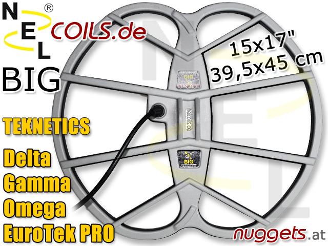 NEL BIG Suchspule Coil Garrett Teknetics Gamma Delta Omega EuroTek Pro 15x17 39,5x45 cm www.nuggets.at www.nelcoils.de
