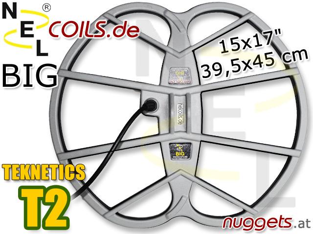 NEL BIG Suchspule Coil Garrett Teknetics T2 15x17 39,5x45 cm www.nuggets.at www.nelcoils.de