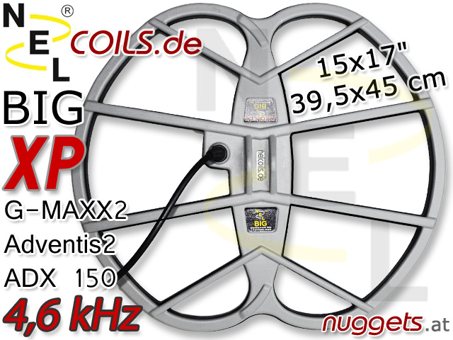NEL BIG Suchspule Coil XP GMaxx Advenits ADX 15x17 39,5x45 cm www.nuggets.at www.nelcoils.de
