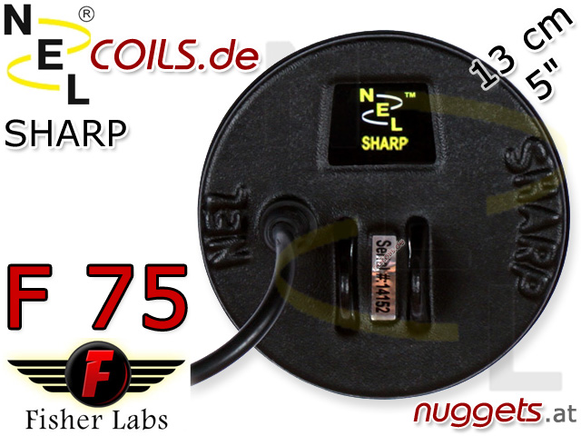 NEL Sharp Suchspule Fisher F75 F 75 Coil Coils Sonde Sonden www.nuggets.at