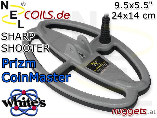 NEL SharpShooterSuchspule Whites Coinmater Prizm Coil Coils Sonde Sonden www.nuggets.at