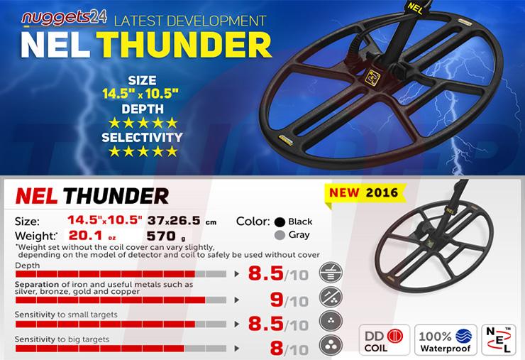 NEL Thunder Suchspule Coil Garrett AT GOLD 18 kHz 26,5x37 cm 10.5x14.5