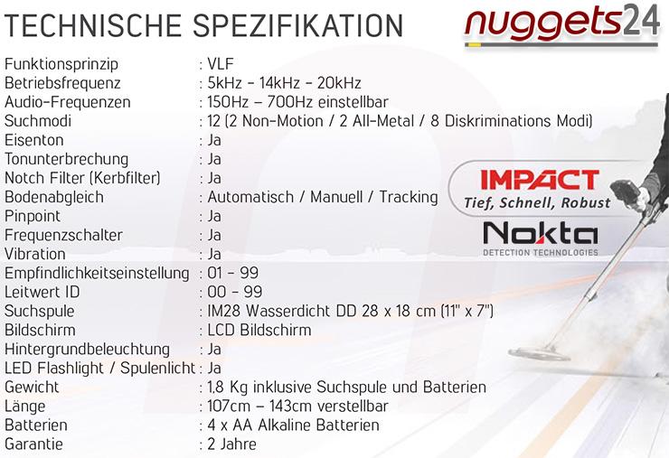 Nokta Impact Technische Daten Deutsch nuggets24