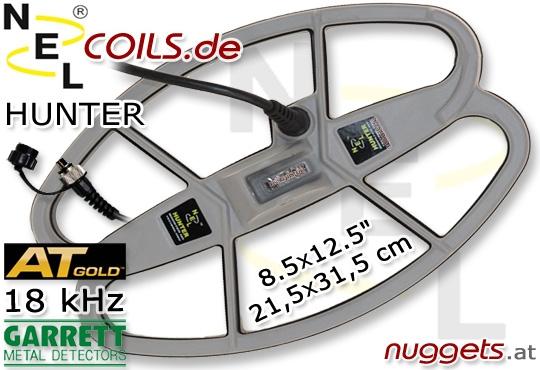 "Hunter Garrett AT GOLD 18 kHz Suchspule 8.5x12.5 "" 21,5 x 31,5 cm"