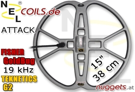 "NEL Attack Fisher Goldbug Teknetics G2 Coil Suchspule 15 "" 38 cm"