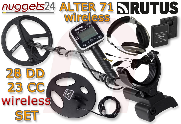 Rutus Funk wireless Alter 71 Profi Metalldetektor Metal Detector DUO coil 2 Suchspulen Package nuggets24com