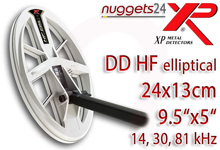 XP DEUS HF High Frequency DD coil Spule 24x13 9.5x5 nuggets24com