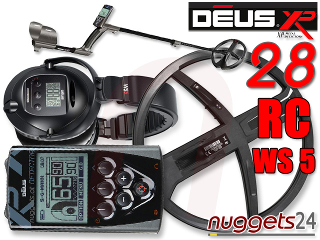 XP Deus 28 DD RC WS5 WS 5 V3 3.2 www.nuggets.at Vollausstattung + LCD FB + WS5 Funkkopfhörer Metalldetetor Online Shop