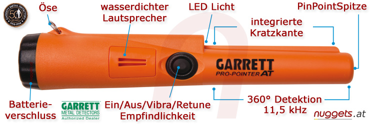 Garrett Pro-Pointer AT waterproof Pin Pointer www.nuggets.at