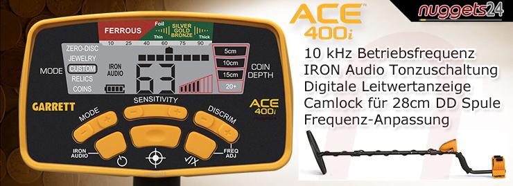 Garrett ACE400i 400i 400 Metal Detector Metalldetektor www.nuggets24.de www.nuggets24.com www.nuggets.at